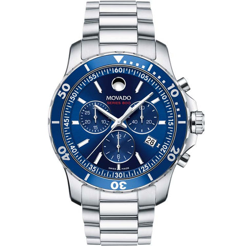 Movado Series 800 42 mm Blue Dial Steel Bracelet Chronograph Quartz Men's Watch 2600141