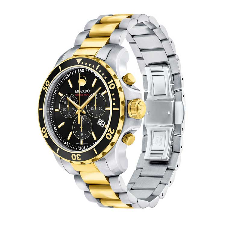 Movado Series 800 Steel & Yellow Gold PVD Quartz Chronograph Men's Watch 2600146