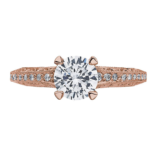 Tacori Classic Crescent 18K Rose Gold Round Center Engagement Ring 2616RD65PK