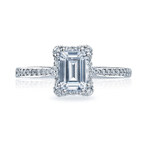 Tacori Emerald Cut Small Pave Engagement Ring 2620ECSMPW