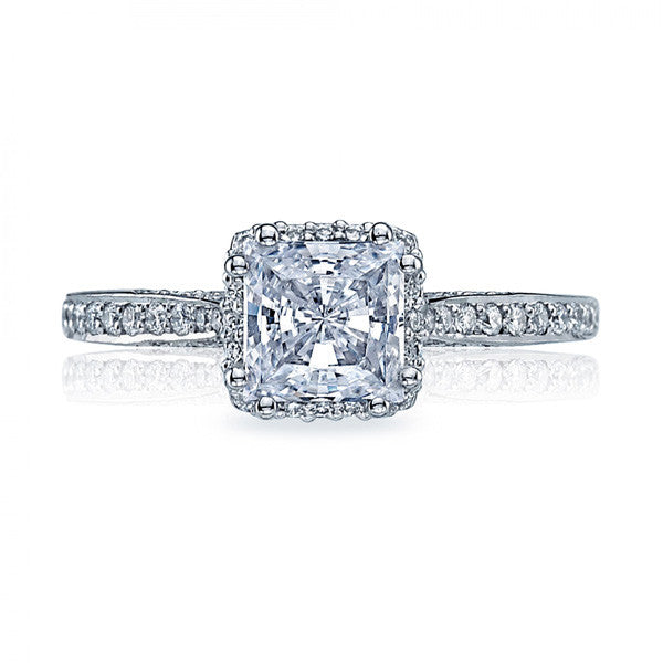 Tacori Platinum Princess Cut Center Engagement Ring 2620PRSMP