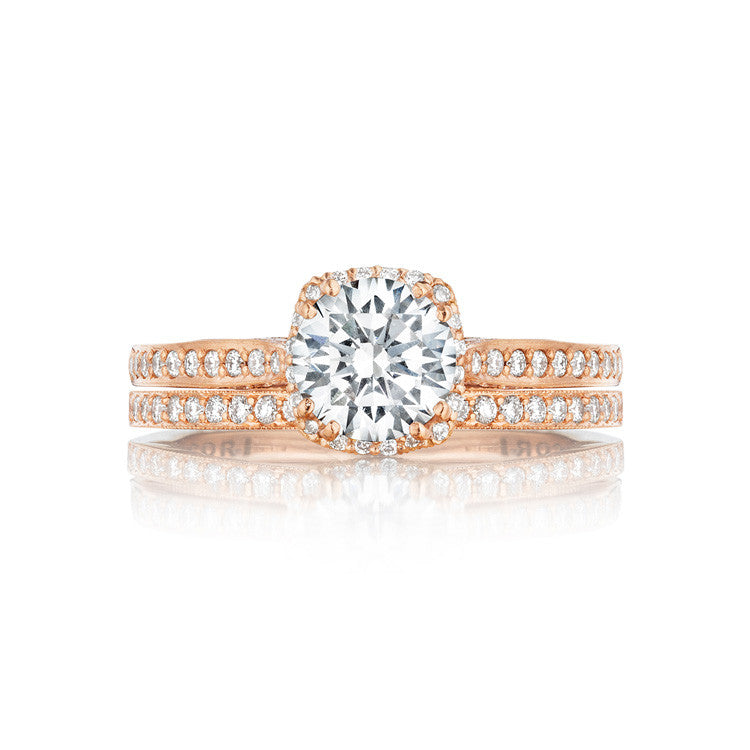 Tacori 18K Rose Gold Small Pave Diamond Engagement Ring 2620RDSMPPK