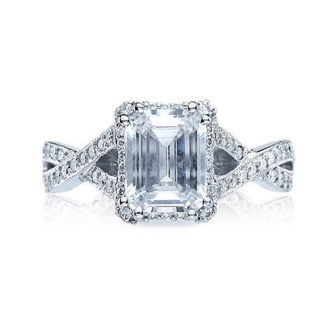 Tacori Criss Cross Emerald Cut Diamond Engagement Ring 2627ECLG