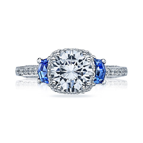 Tacori 18K White Gold Blue Sapphire Diamond Engagement Ring 2628RDSPSMW