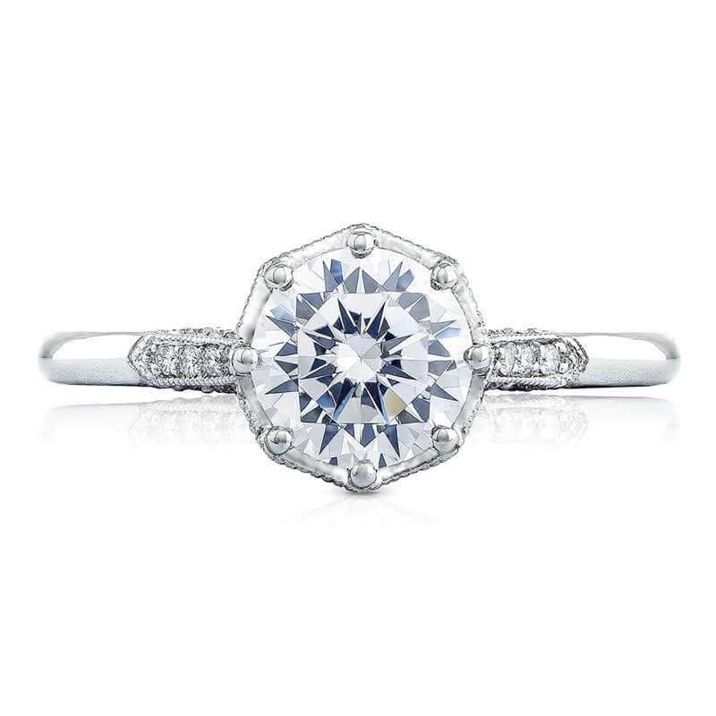 Tacori Round Center Pave Solitaire Ring 2653RD8