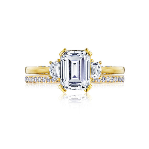 Tacori 18K Yellow Gold Three-Stone Emerald Cut Center Engagement Ring 2658EC8X6Y