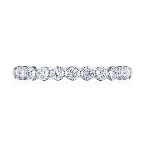 Tacori Sculpted Crescent Prong-Set 18K White Gold 3/4 Way Diamond Wedding band 266625B34W