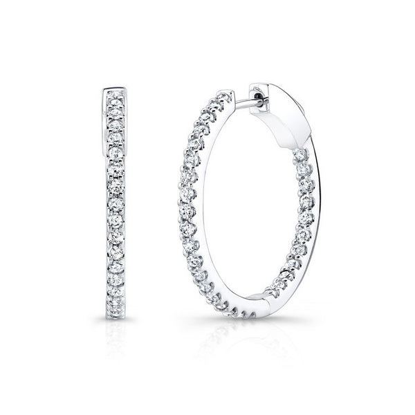14K White Gold Diamond Hoop Earrings 27204-W