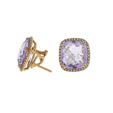 Bijan Fere 18K Rose Gold Pink Amethyst Diamond Earrings 32089/BF2885-E