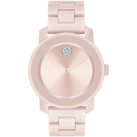Movado BOLD 36mm Blush Ceramic Swiss Quartz Women's Watch 3600536