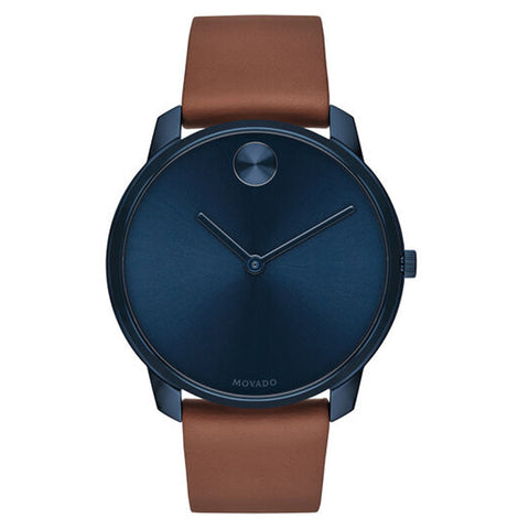 Movado BOLD 42 mm Blue Ion-plated Brown Leather Strap Swiss Quartz Men's Watch 3600585