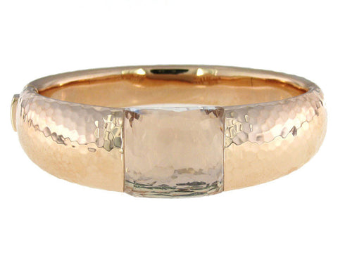 Roberto Coin Martellato 18K Rose Gold Rock Crystal Bangle Bracelet 473420AXBAJ0