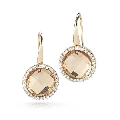 Roberto Coin 18K Rose Gold Cocktail Earrings with Diamonds and Crystal Doublet