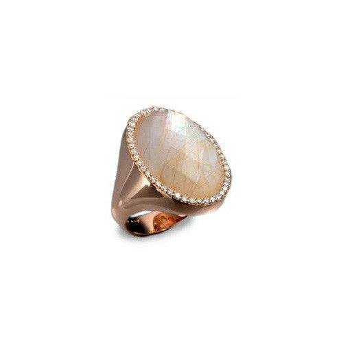 Roberto Coin Rose Gold Rock Crystal & Diamond Cocktail Ring 473595AX70JX