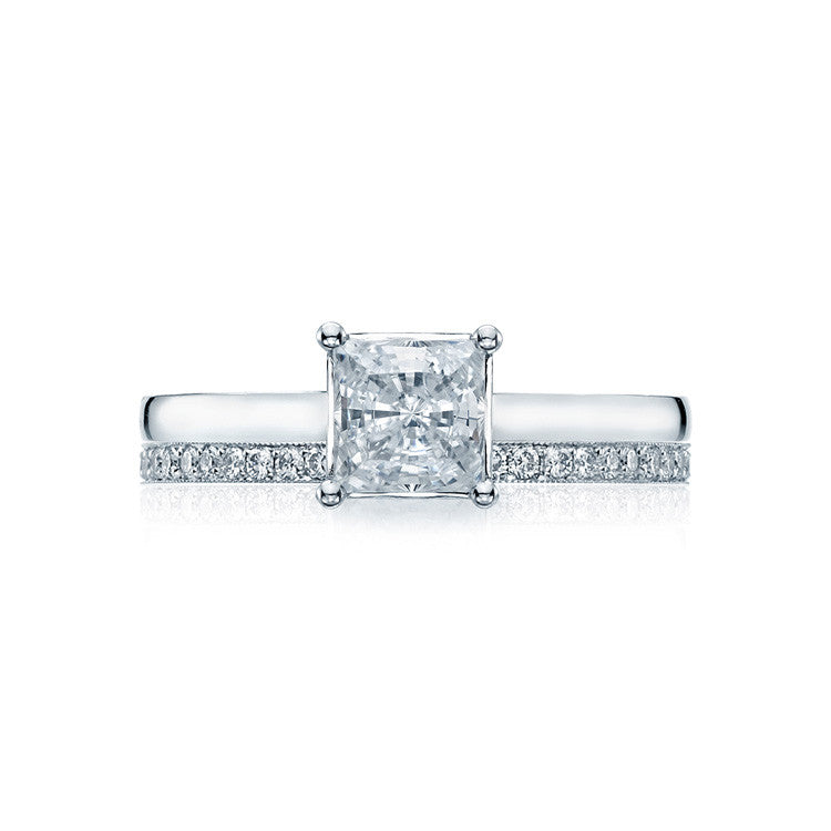 Tacori Platinum Princess Solitaire Engagement Ring 48PR55