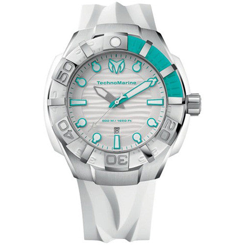 TechnoMarine Blackreef Strap White and Turquoise 45MM Watch 512003
