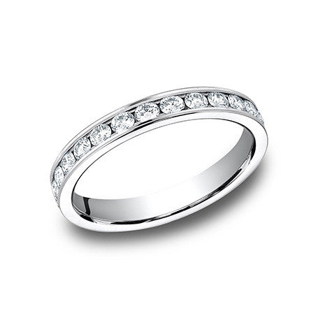 Benchmark Ladies 14K White Gold 3MM Channel Set Diamond Wedding Band 513549