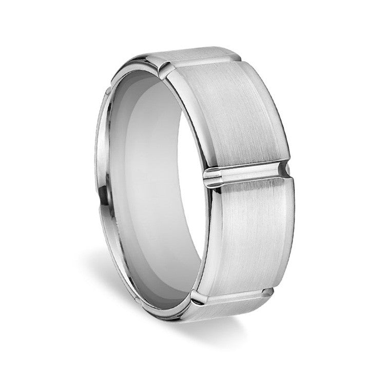 Ritani Men's Flat Satin-Finish Sectioned Wedding Ring 70012S8D