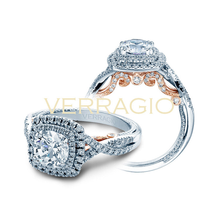 Verragio Cushion Cut Halo Engagement Ring INSIGNIA-7084CU-TT