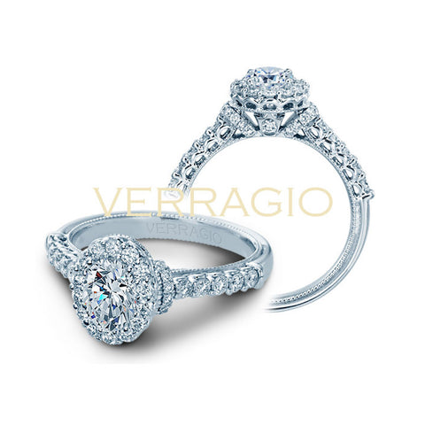 Verragio 14K White Gold Oval Center Diamond Engagement Ring Renaissance-908OV