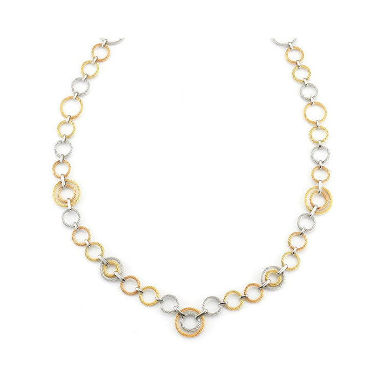 ALOR Classique 18K Yellow Gold Cable Diamond Necklace A8-36-S021-10
