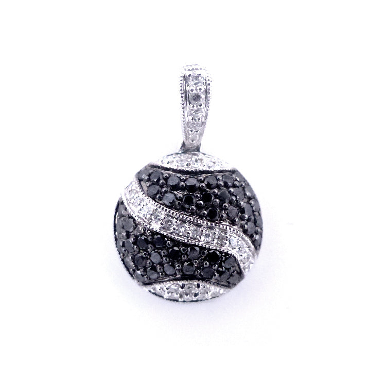 Sandra Biachi 14K White Gold Black & White Diamond Pendant BK1539A