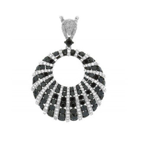 Sandra Biachi 14K White Gold Black & White Diamond Pendant BK1597