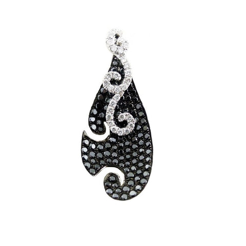 Sandra Biachi 14K White Gold Black & White Diamond Pendant BK1660A+