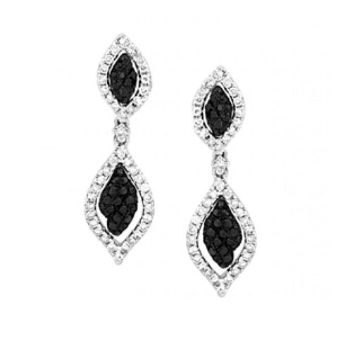 Sandra Biachi 14K White Gold Black & White Diamond Earrings BK1959