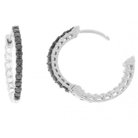 Sandra Biachi Black & White Diamond Hoop Earrings BK973