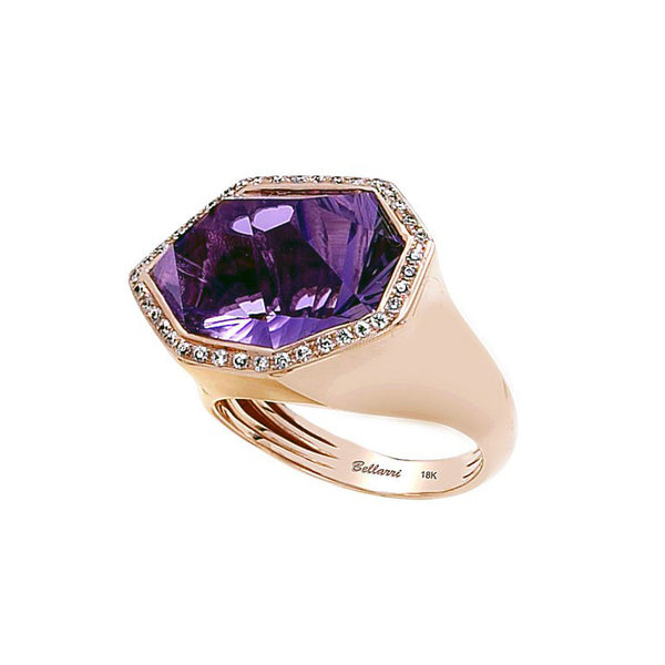 Bellarri 18K Rose Gold Amethyst Diamond Ring R8793PG