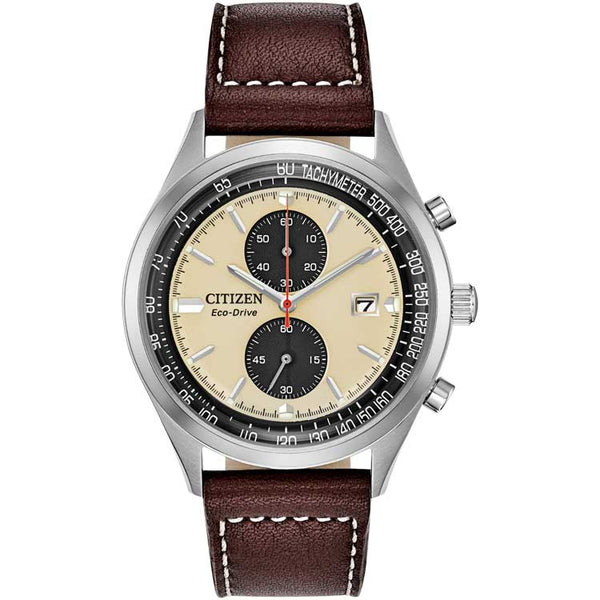 Citizen Chandler Beige Dial Brown Leather Strap Eco-Drive Men's Watch CA7020-07A