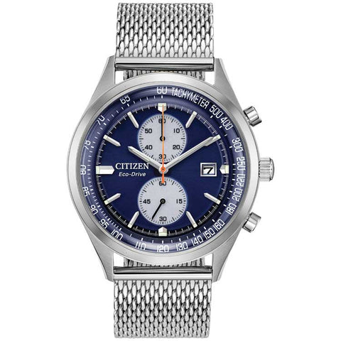 Citizen Chandler Blue Dial Stainless Steel Bracelet Eco-Drive Men's Watch CA7020-58L