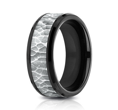 Benchmark Ammara Black Titanium 8mm Hammered-finished Men's Band CF388753BKT