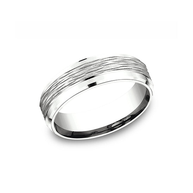 Benchmark Comfort-Fit 14K White Gold 7mm Men's Wedding Band CF67742