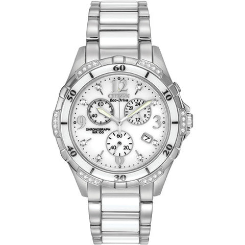 Citizen Ceramic Diamond Chronograph Women's Watch FB1230-50A