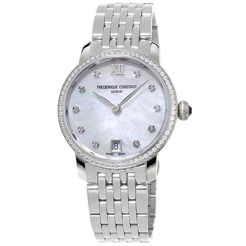 Frederique Constant Slimline Diamond Quartz Women's Watch FC-220MPWD1SD26B