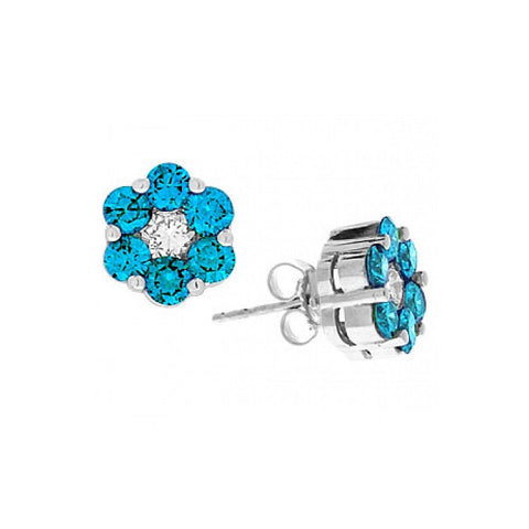 Sandra Biachi 18K White Gold Blue & White Diamond Stud Earrings HC5201BDAA
