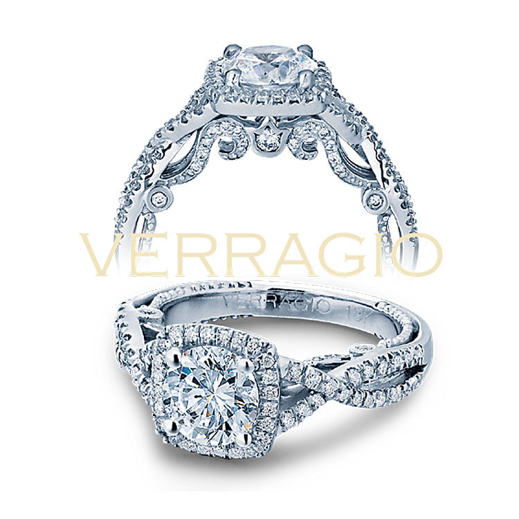 Verragio 18K White Gold Cushion Halo Round Center Engagement Ring INSIGNIA-7070CU
