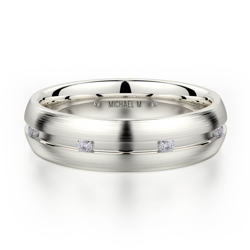 Michael M 14K White Gold Handcrafted Men's Diamond Wedding Band MB-104
