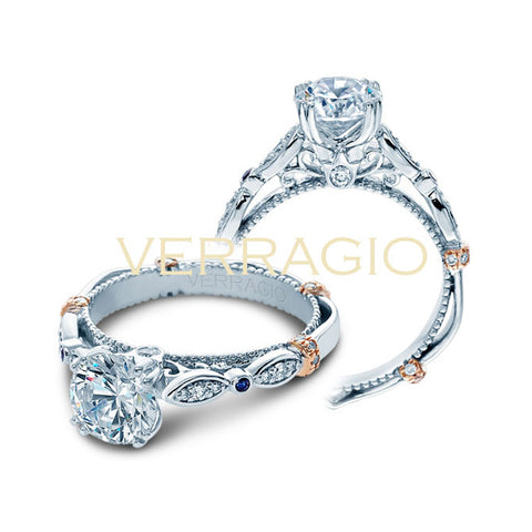 Verragio 14K White Gold Diamond Sapphires Engagement Ring PARISIAN-CL-DL100