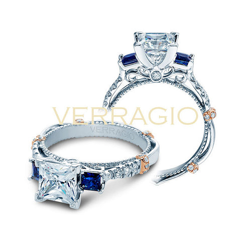 Verragio Parisian 14K White Gold Sapphire Diamond Engagement Ring PARISIAN-CL-DL124P