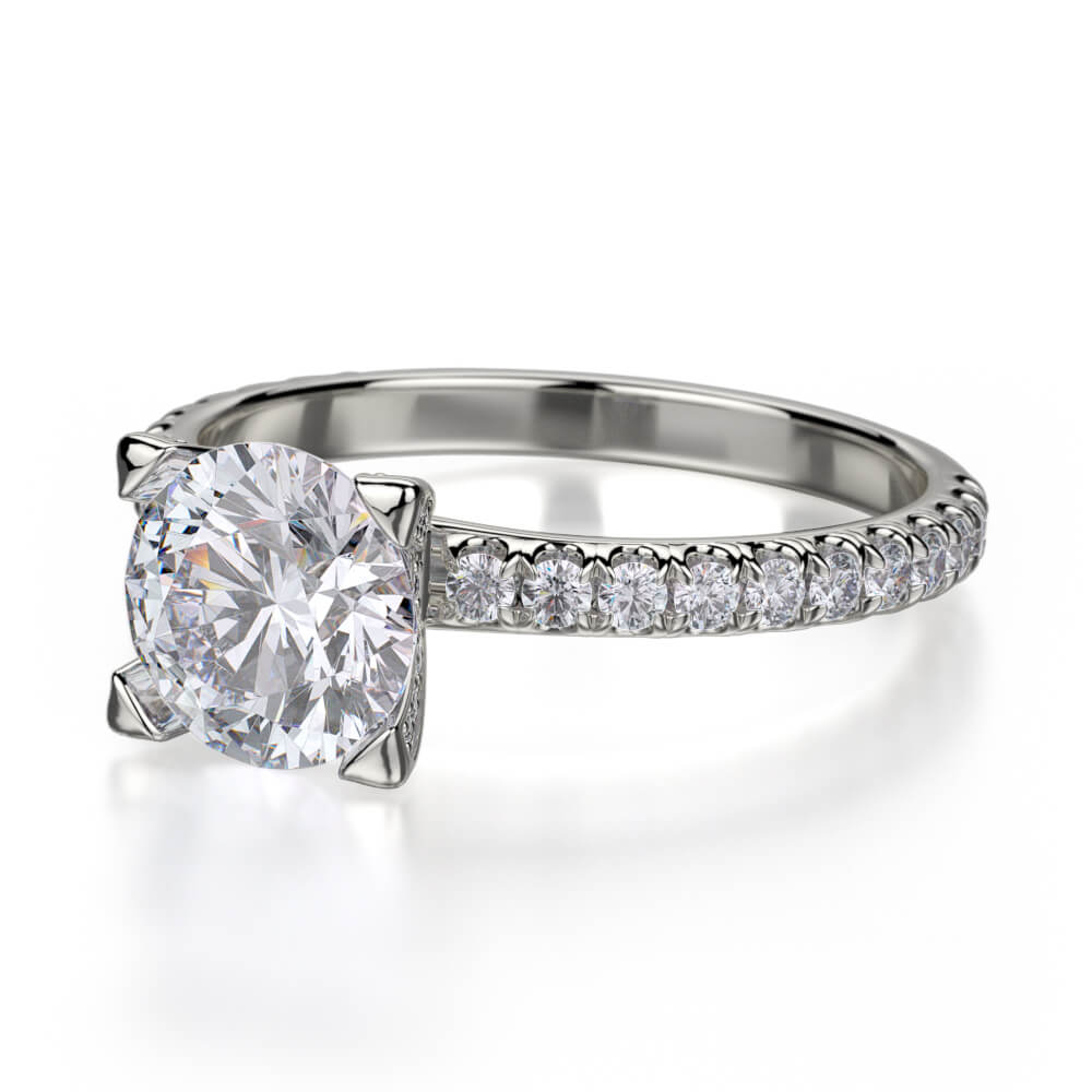 Michael M EUROPA 18K White Gold Engagement Ring R371-1