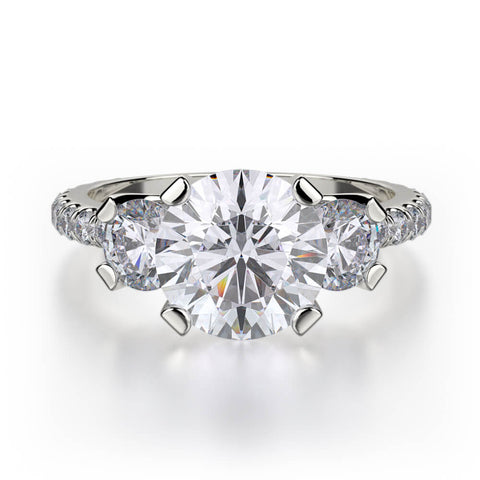 Michael M TRINITY 18K White Gold Engagement Ring R422-2