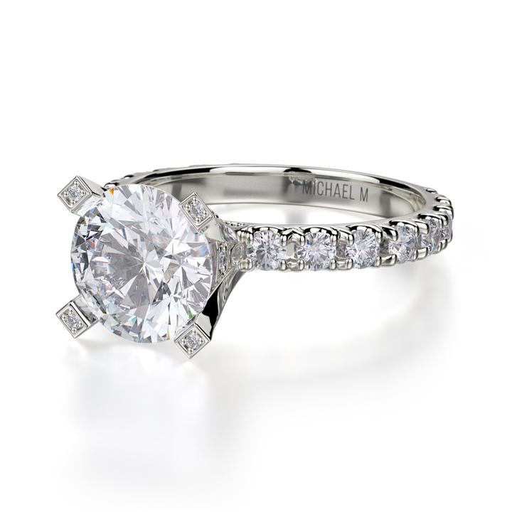 Michael M EUROPA 18K White Gold Diamond Engagement Ring R442-2