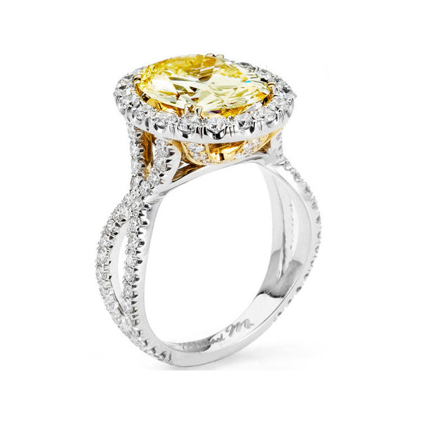 Michael M 18K White & Yellow Gold Diamond Engagement Ring R454-2