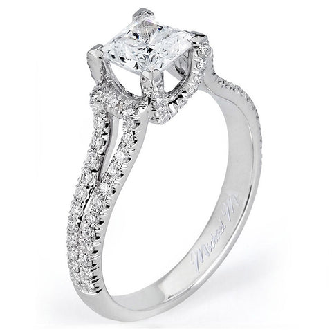 Michael M 18K White Gold Princess Center Diamond Engagement Ring R498-1
