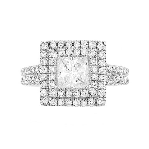 Michael M 18K White Gold Princess Cut Center Diamond Engagement Ring R561-1