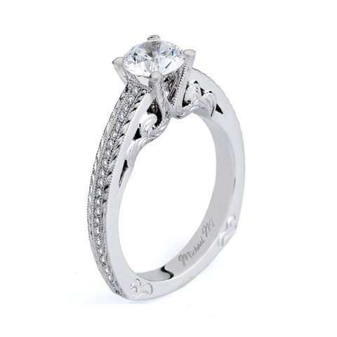 Michael M 18K White Gold Engagement Ring R576-1