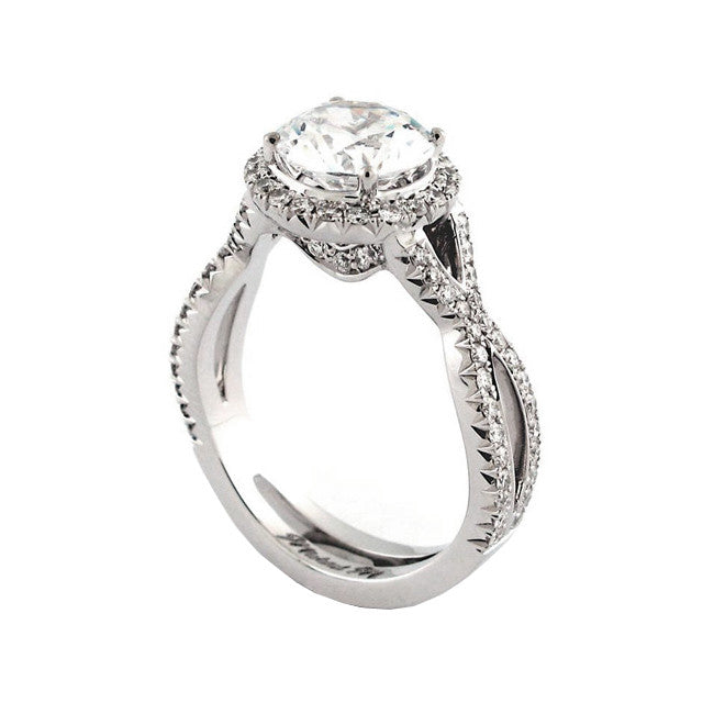 Michael M Halo Cross Over Twist Pave Diamond Engagement Ring R631-2